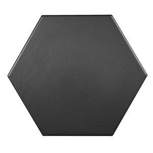 Hexagon 17.5cm x 20.2cm Porcelain Tile in Black