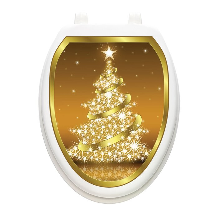 Groovy Holiday Gold Christmas Tree Toilet Seat Decal Caraccident5 Cool Chair Designs And Ideas Caraccident5Info