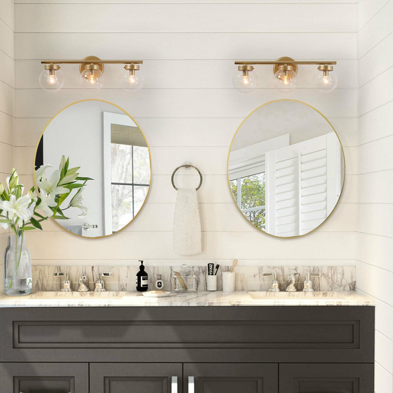 Rosdorf Park Connie 3 Light Dimmable Gold Vanity Light Reviews Wayfair