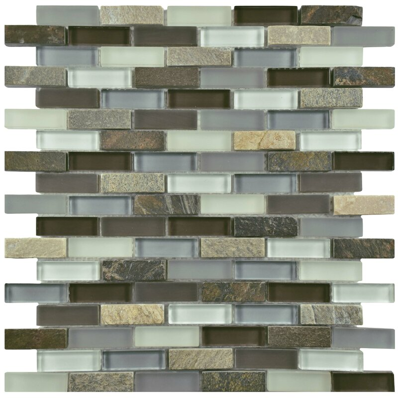 EliteTile Sierra 058 x 188 Glass and Natural Stone Mosaic Tile