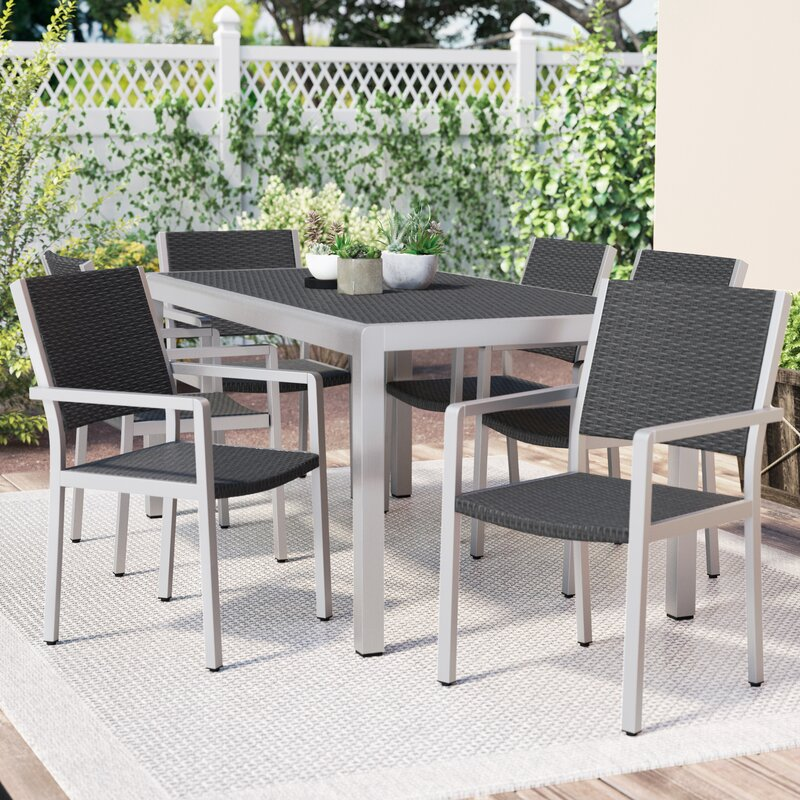 Wade Logan Durbin 7 Piece Aluminum Dining Set & Reviews