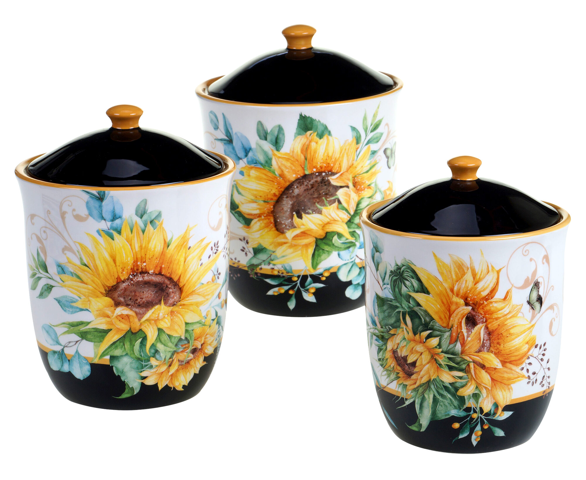 Rosalind Wheeler Sunflower Fields 3 Piece Kitchen Canister Set Reviews Wayfair