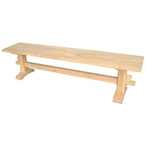 Unfinished Wood Trestle Bench