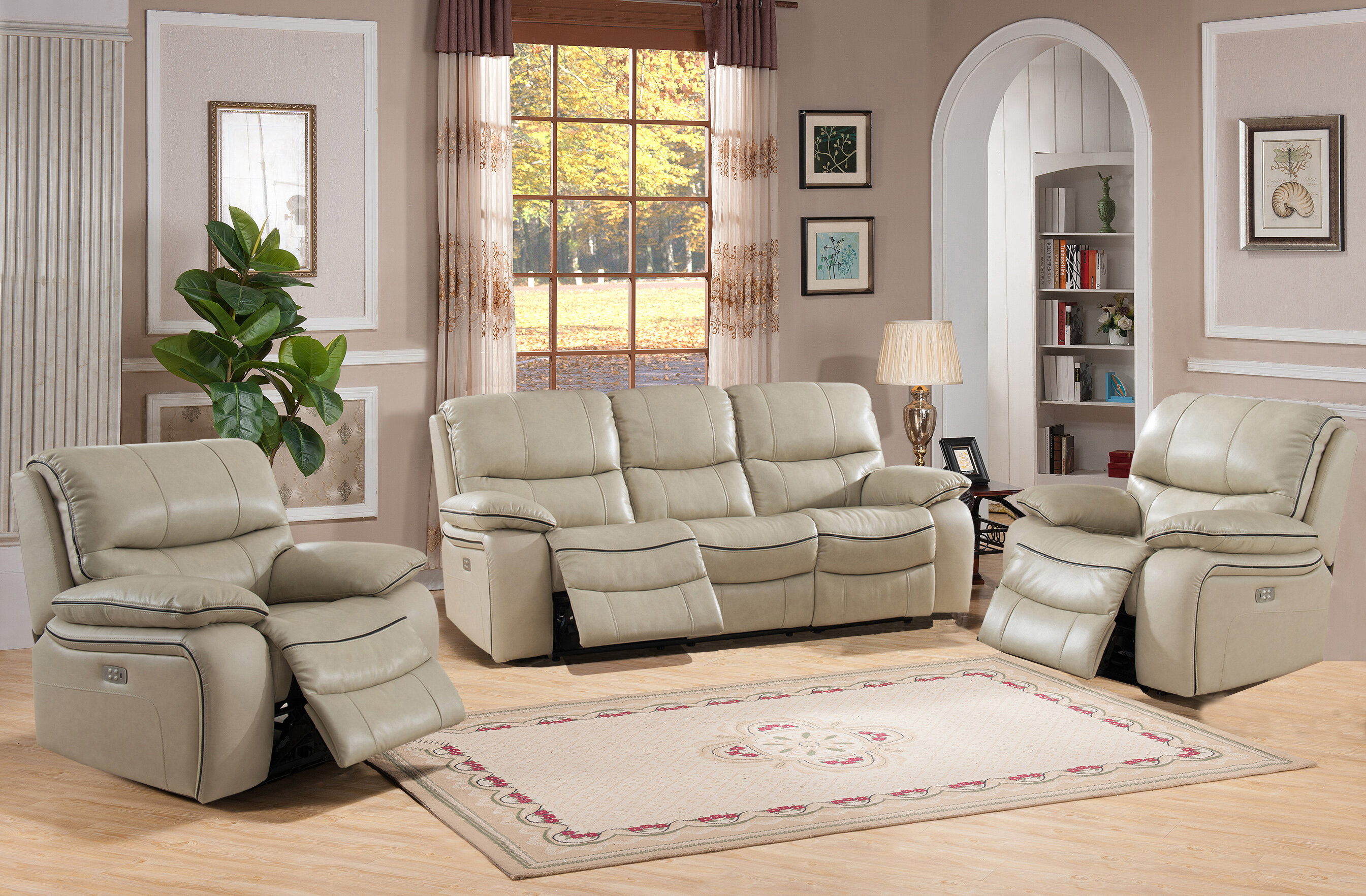 Red Barrel Studio Deshaun Reclining 3 Piece Leather Living Room Set Wayfair