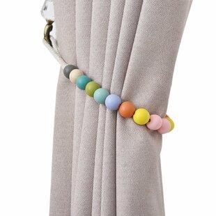 dametta macaron wooden bead curtain tieback set of 2
