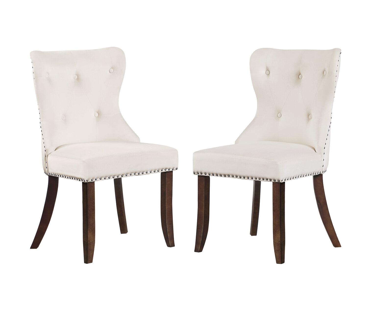 Rosdorf Park Waukesha Tufted Velvet Wingback Side Chair Wayfair