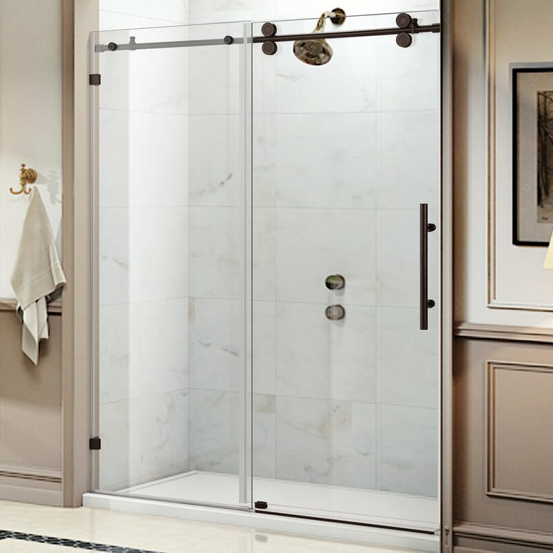 trident lux x single sliding frameless shower door
