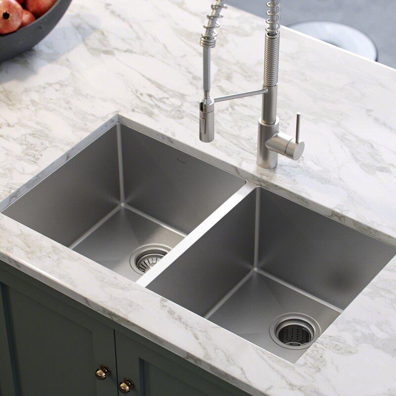"""Kitchen Sink 19 X 33: KHU102-33 Kraus 33"""" L X 19"""" W Double Basin Undermount"""