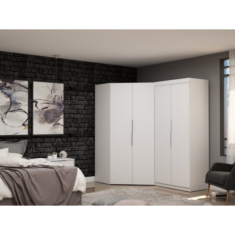 Latitude Run® Delhi Sectional Corner Wardrobe Armoire ...