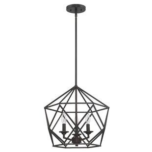 Gracie Oaks Matherne 3-Light Geometric Chandelier