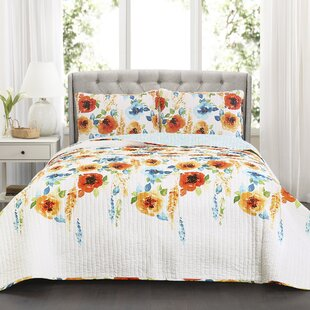 Grimmer 100% Cotton 3 Piece Reversible Quilt Set