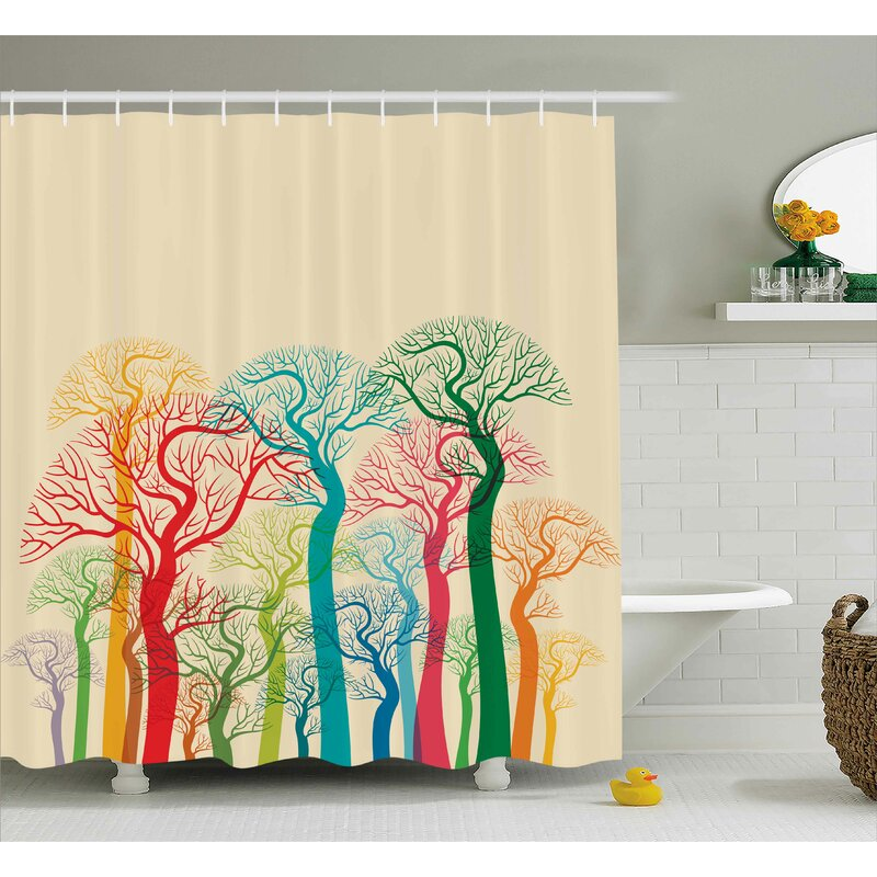 Garrett Colorful Abstract Trees Shower Curtain