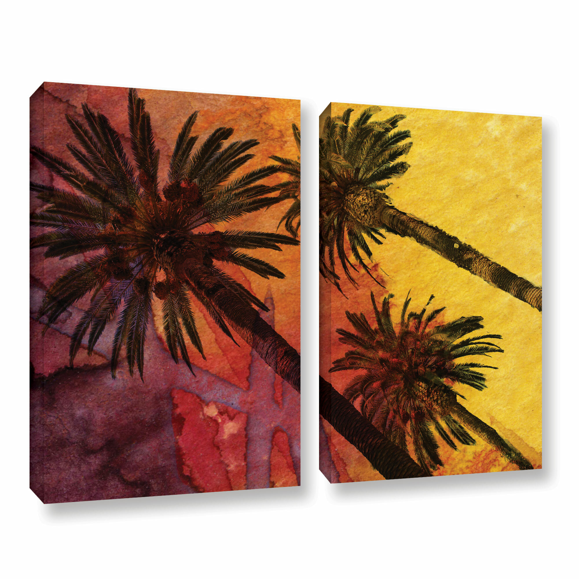 Bay Isle Home Beach With Palm Trees 2 Piece Painting Print On Wrapped Canvas Set Wayfair