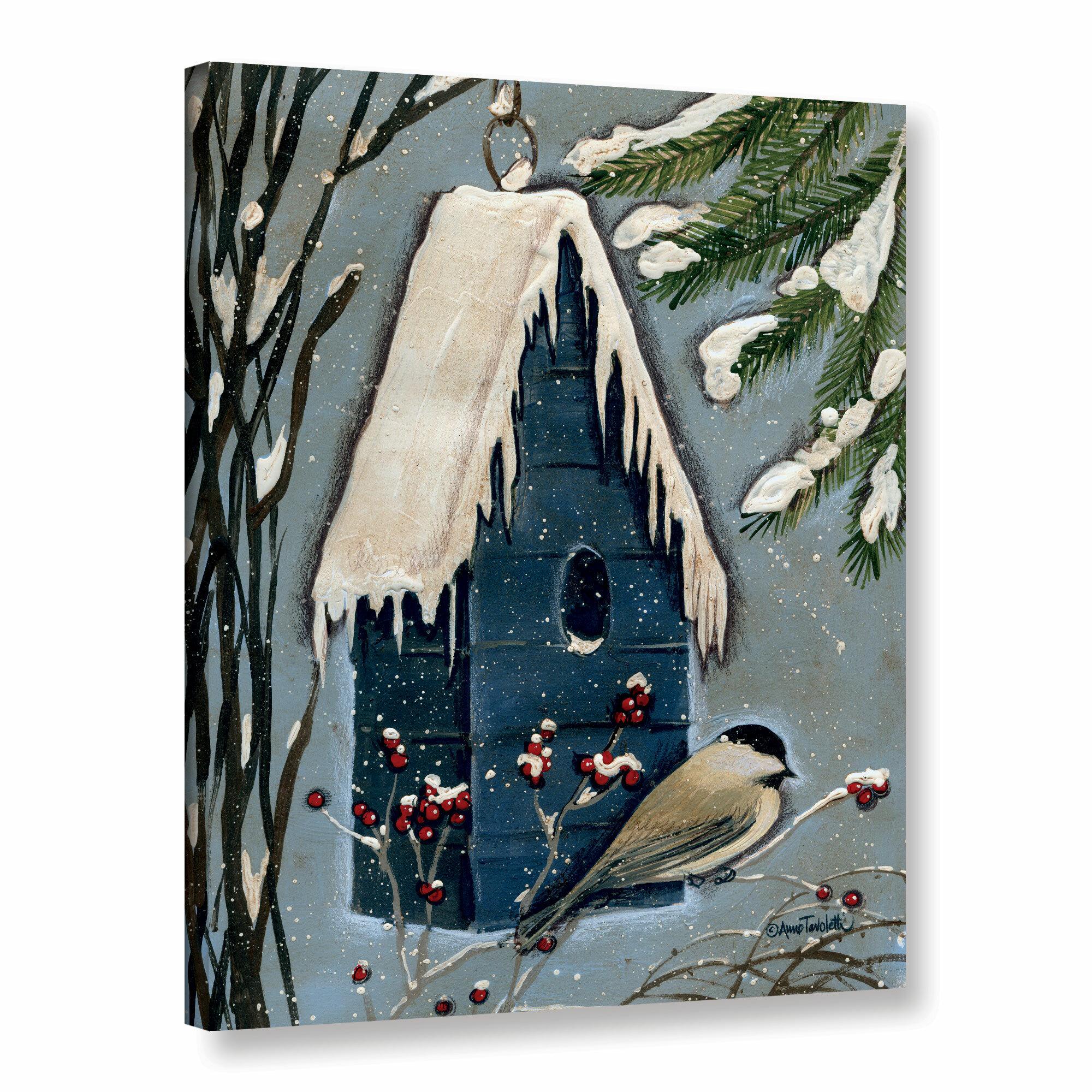 August Grove Chickadee Painting Print On Wrapped Canvas Wayfair