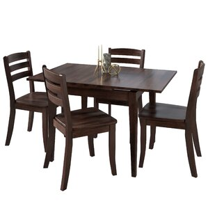 Liggett 5 Piece Cream Frame Dining Set by Three Posts