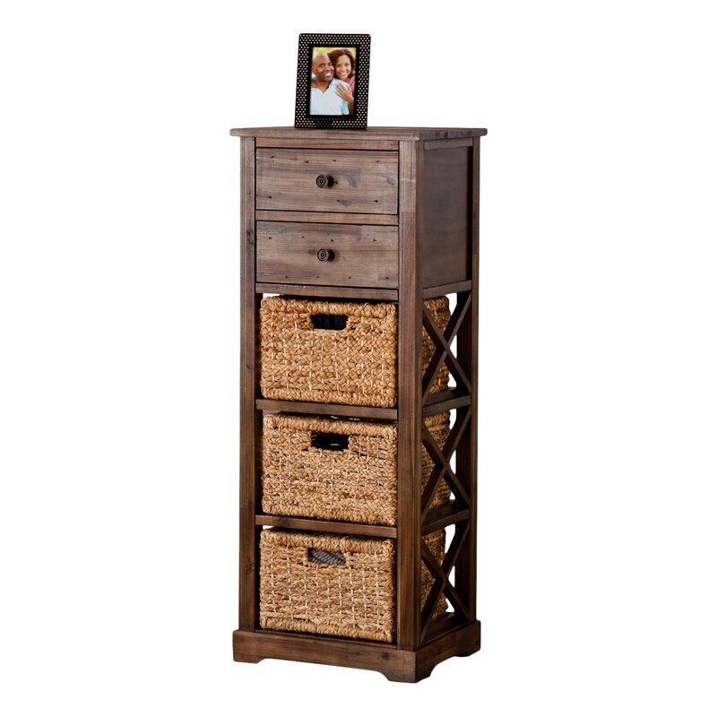 Charmant Stimson 2 Drawer Storage Chest 3 Basket Storage Tower