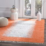 Ona Handwoven Flatweave Cotton Ivory/Orange Area Rug by Beachcrest Home