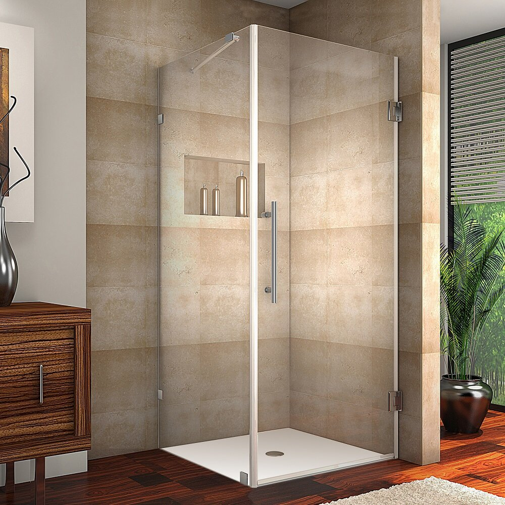 Aston Aquadica Completely Frameless Hinged Square Shower Enclosure ...