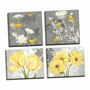 Beautiful 'Floral and Botanical' By Pamela Gladding and Jill Meyer 4 Piece Graphic Art Print Set on Wrapped Canvas in Yellow and Grey (Set of 4)
