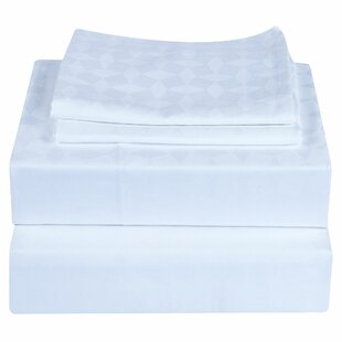 Bretz Genuine Jacquard Diamond 400 Thread Count Damask 100% Egyptian-Quality Cotton Sheet Set