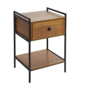 Wash Farmhouse Industrial Bedside 1 Drawer Nightstand