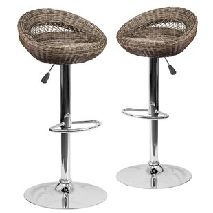 Gracie Oaks Taniya Adjustable Height Swivel Bar Stool (Set of 2)