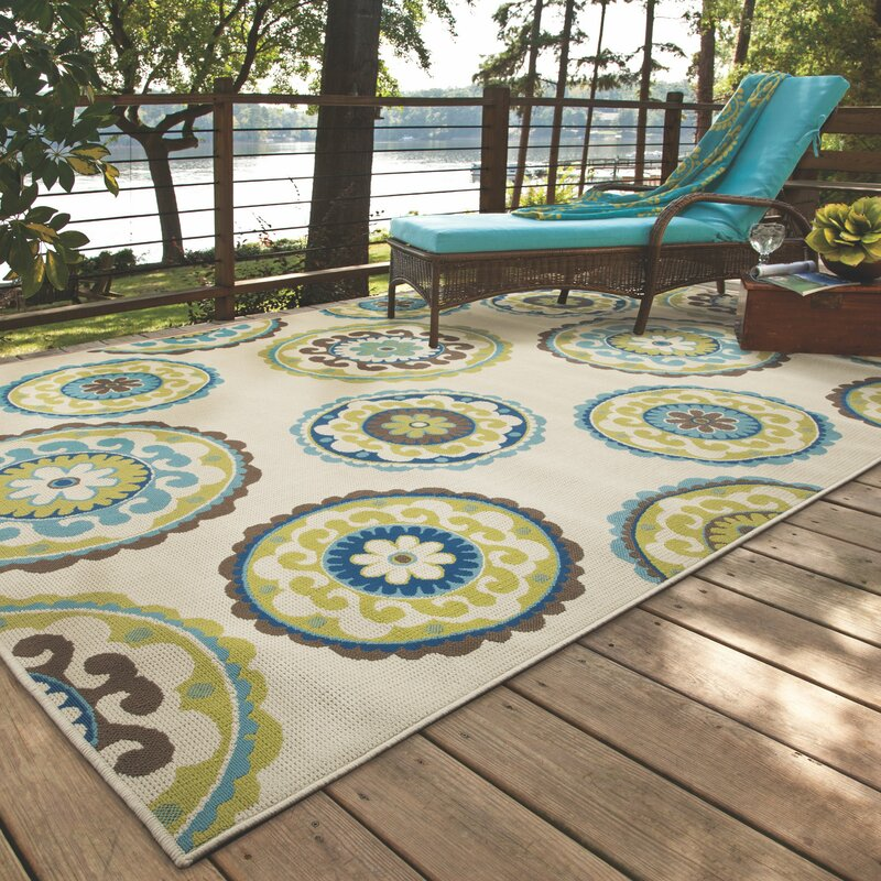Capri Beige Green Indoor Outdoor Area Rug