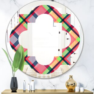 Quatrefoil Tartan Geometrical Texture I Modern Farmhouse Frameless Wall Mirror by East Urban Home