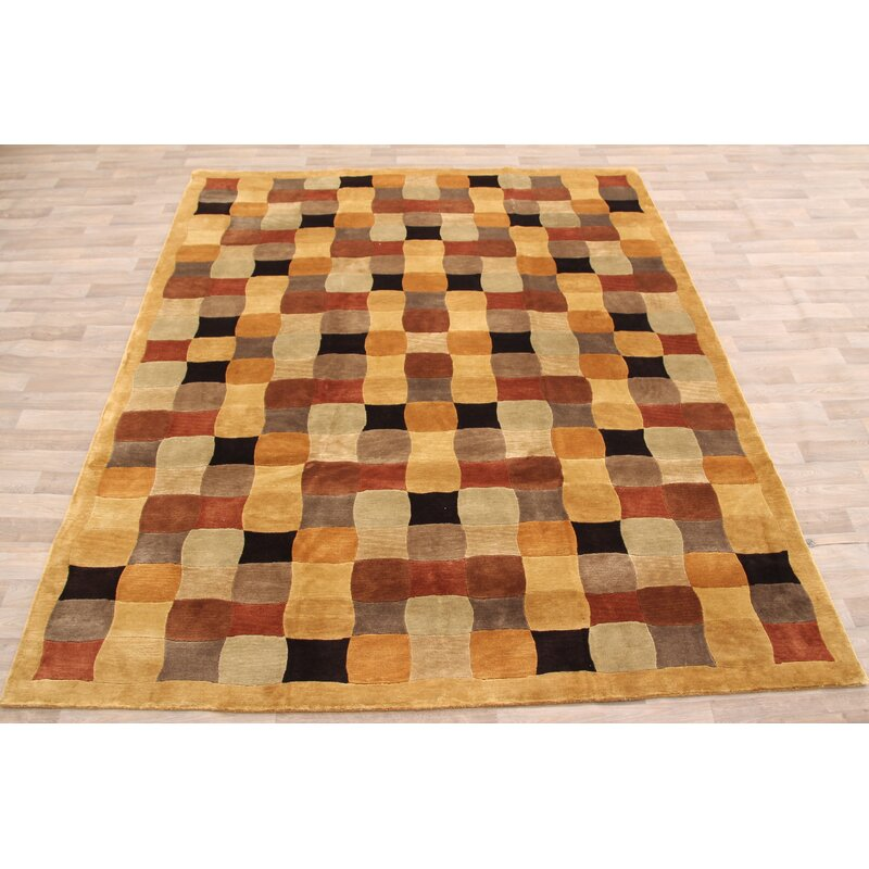 George Oliver One Of A Kind Mceachern Hand Knotted Yellow Black Red 8 3 X 9 1 Wool Area Rug Wayfair