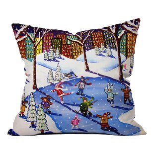 Renie Britenbucher Winter Fun In The City Throw Pillow
