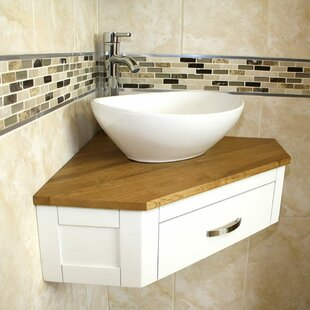 Giovani Solid Oak 55mm Corner Vanity Unit By August Grove