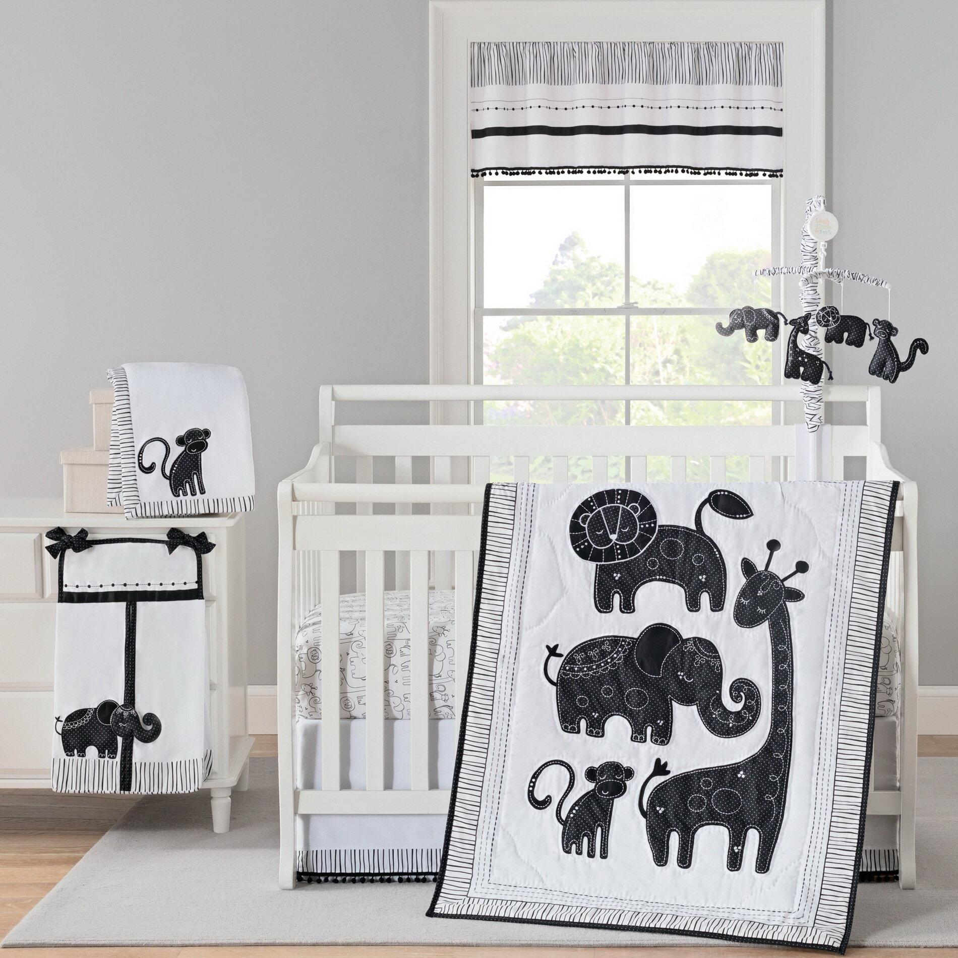 Jungle Theme Carter/'s Animals Collection 4 Piece Applique Baby Crib Bedding Set