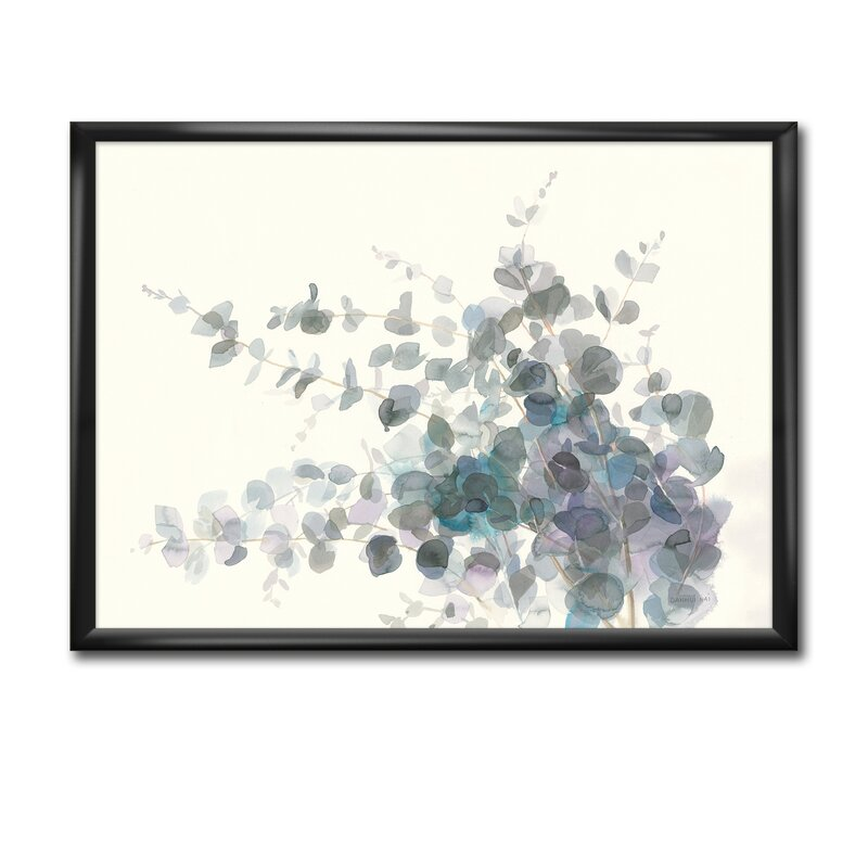 East Urban Home Gray Watercolor Flower Picture Frame Print On Canvas Wayfair