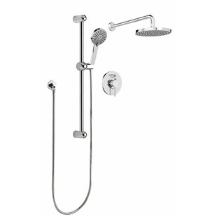 Keeney Manufacturing Company Sleek Round Rain Faucet Pressure Balanced Dual Function Dual Shower Head Complete Shower System