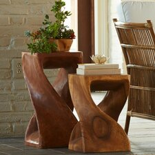 2 Piece Hand Carved Twisty Accent Stool Set by VivaTerra