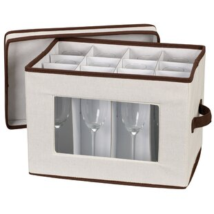 Storage and Organization Stemware Chest/Flute Canvas with Trim