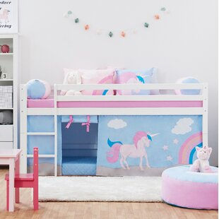 Basic Mid Sleeper Bed With Ladder And Curtain By Hoppekids