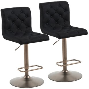 Angelo Adjustable Height Swivel Bar Stool Set of 2 by Alcott Hill