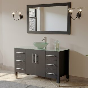 Meserve Solid Wood Glass Vessel 47 inch  Single Bathroom Vanity Set with Mirror