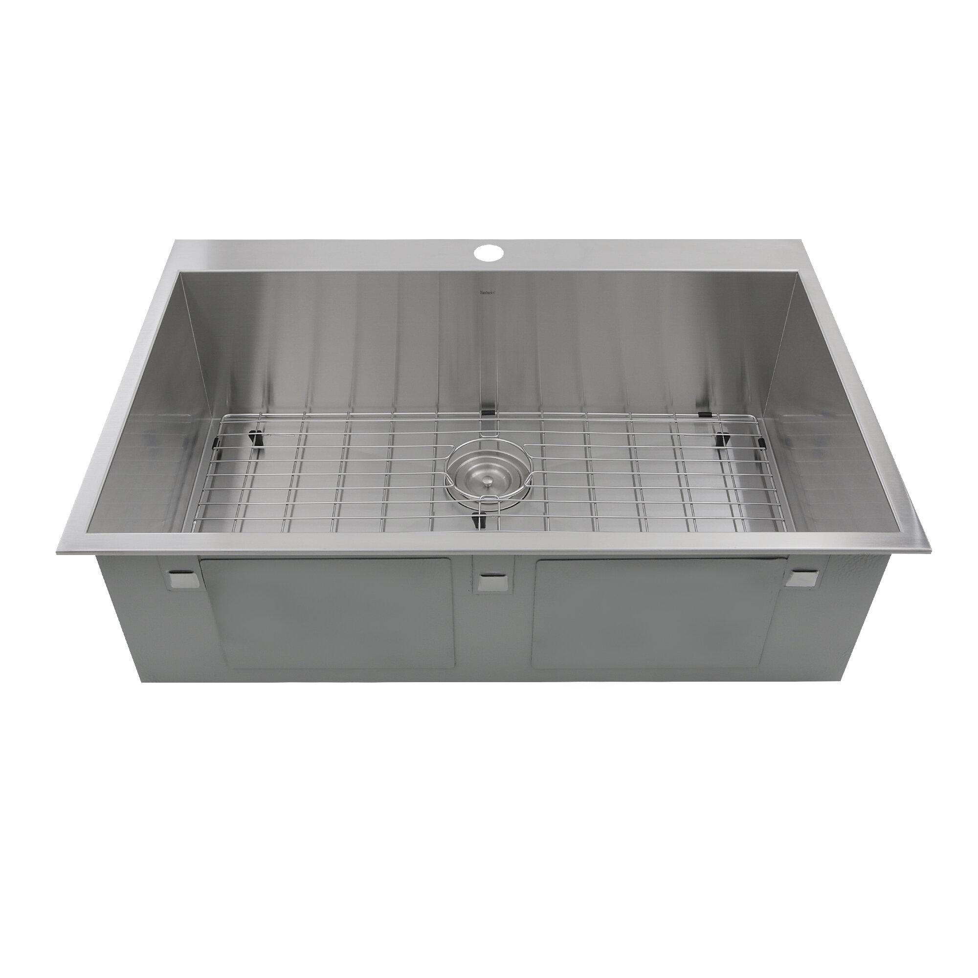 Nantucket Sinks Pro Series 33 L X 22 W Rectangle Single Hole Topmount Stainless Steel Kitchen Sink Reviews Wayfair