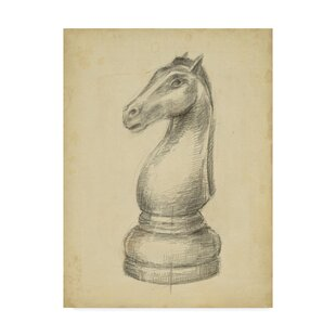 'Antique Chess IV' Drawing Print on Wrapped Canvas by Charlton Home