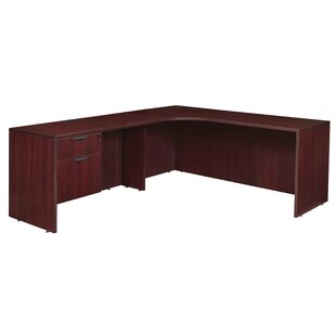 Linh Single Pedestal Left Corner Credenza L-Shape Executive Desk