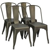 Upholstered Slat Back Stacking Dining Chair in Gun (Set of 4) by Williston Forge
