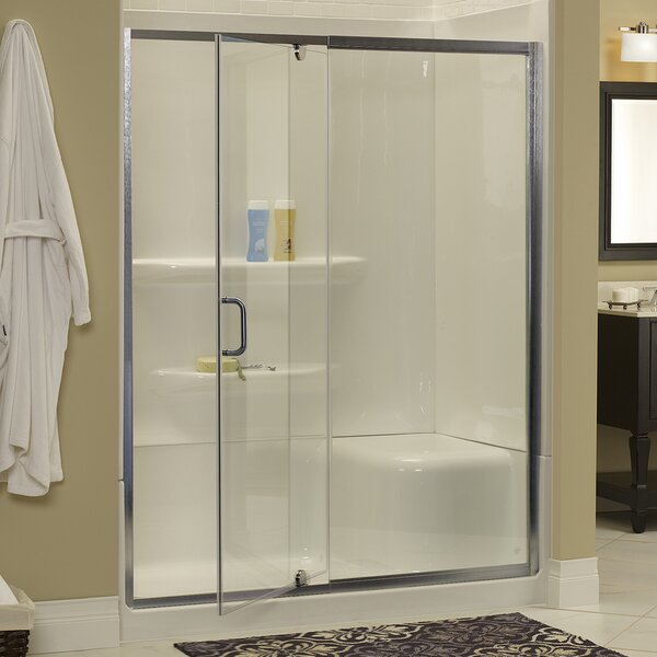Hazelwood Home Brock 42 X 69 Single Pivoting Frameless Shower Door Wayfair