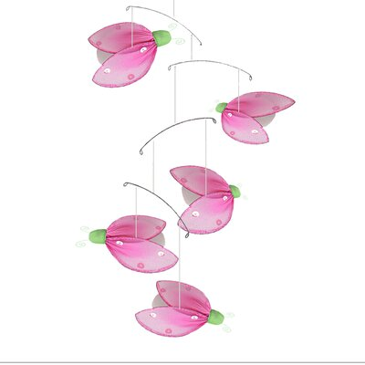 Ladybug Glitter Nylon Hanging Mobile Bugs-n-Blooms Color: Green/Pink