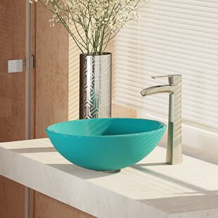 Shop For Glass Circular Vessel Bathroom Sink with Faucet ByRené By Elkay