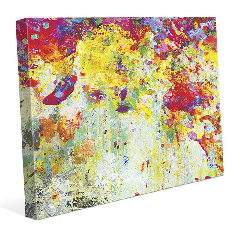 Click Wall Art Splatter Shop Citrine Painting Print On Wrapped Canvas Wayfair