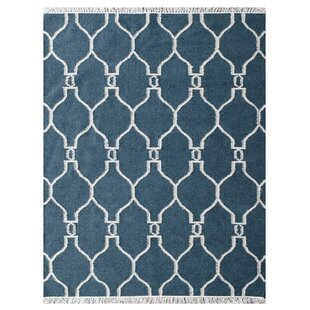 Reviews Lapp Handmade Kilim Wool Blue/White Area Rug By Mercer41
