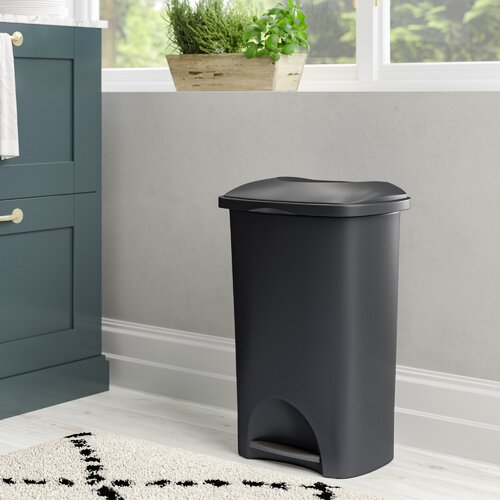Family Kitchen 50 Litre Step on Rubbish Bin Wayfair Basics™ Colour: Black
