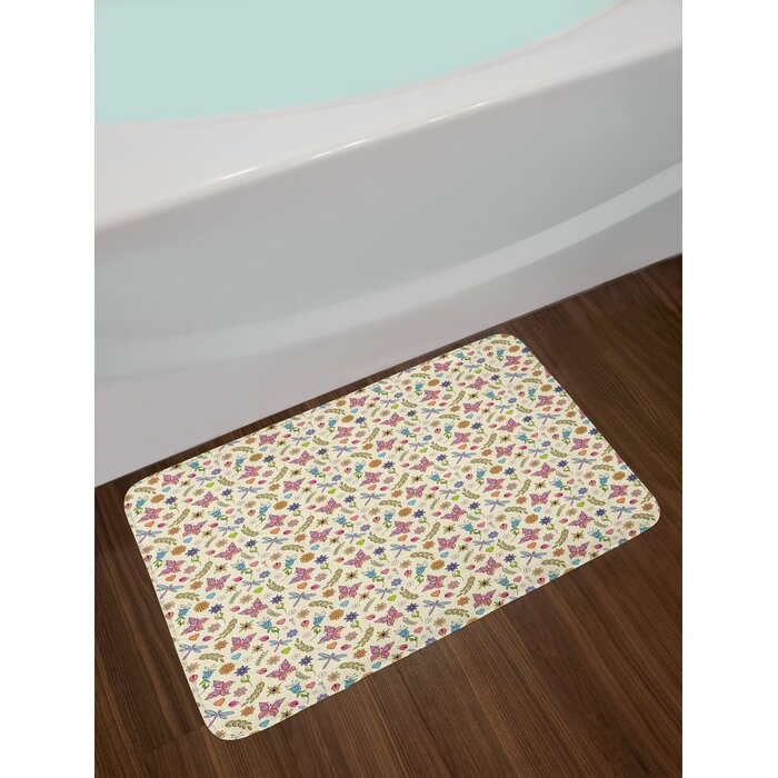 Ambesonne Flowers Bath Mat By Pattern With Abstract Colorful Flowers Dragonfly Butterfly Ladybug Doodle Ornaments Plush Bathroom Decor Mat With Non